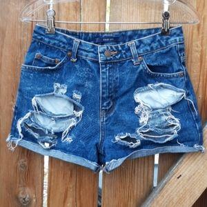 Vintage high rise darkwash distressed jean shorts
